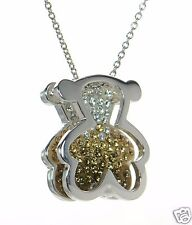 Solid 925 Sterling Silver Crystal Reversible Teddy Bear Necklace '