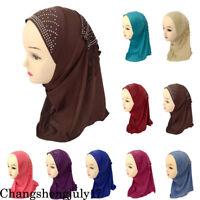 Muslim Kids Hijab Girl Caps Turban Headscarf Instant Hijab Hat Children Prayer