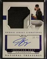 2016 National Treasures Rookie Jersey Purple JON GRAY Autograph RC /49