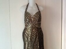 Tony Bowls Paris Dress Prom Pageant Ball Formal Gown Copper Sequins Beads Size 4