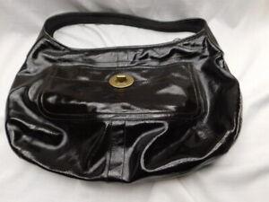 COACH x-large ERGO shoulder & satchel BAG dark BROWN patent LEATHER shiny EXC!