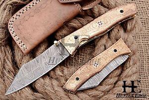 HUNTEX Custom Handmade Damascus 110 mm Long Copper Hunting Folding Pocket Knife