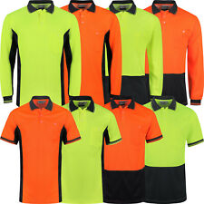 Mens Hi Viz Polo Shirt Short & Long Sleeve High Visibility Safety Work Vis Top