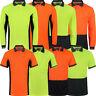 Mens Hi Viz Polo Shirt Short & Long Sleeve High Visibility Safety Work Vis Top