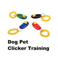 1x Pet Dog Puppy Training Clicker Click Button Obedience Trainer Aid Wrist Strap