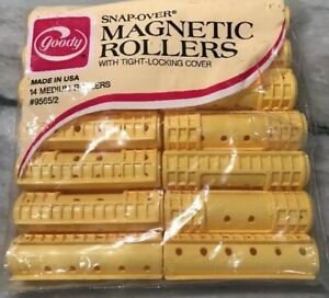 Goody Snap-Over Medium Magnetic Hair Rollers NEW NOS Yellow 14 in Package Sealed