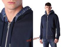 NWT Diesel S-URBICK Mens Contrast DENIM Hoodie Sweatshirt Jacket X-LARGE $198