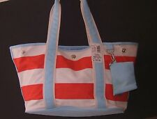 Bass Canvas Tote Bag Messenger Handbag Multi Color Stripes Beach