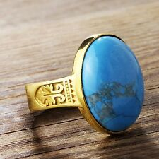 Vintage Style 10k SOLID YELLOW GOLD Men's Ring NATURAL Blue Turquoise Gemstone