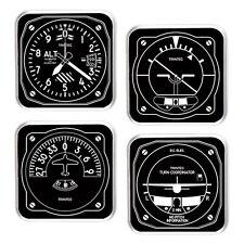 Trintec Black & White 4-Piece Square Acrylic Aviation Instrument Coaster Set