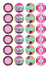 Pre Cut Happy Birthday Mum Cupcake Edible Wafer Paper Toppers x 24