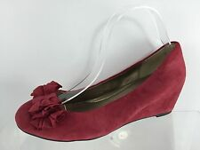 Me Too Womens Red Leather Wedges 10 M