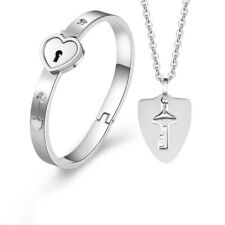 Titanium Heart Love Lock Bracelet with Key Pendant Necklace Steel Bangle Sets