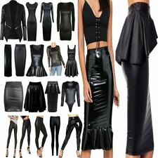 Women PU PVC Wet Leather Look Bodycon Dress Ladies Top Skirt Leggings Lot