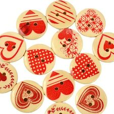 30x 2 Fit Mixed Heart Pattern Sewing DIY Scrapbooking Decor Wooden Buttons