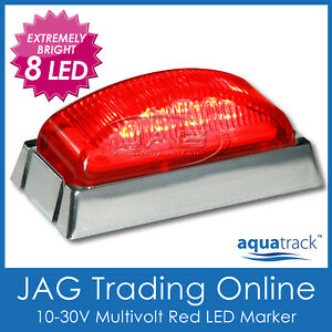 10-30V 8-LED RED MARKER LIGHT/CLEARANCE LAMP CHROME HOUSING - Boat/Truck/Trailer