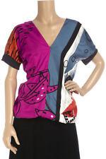 100% GENUINE Designer Ossie Clark RASO SETA Camicetta UK14 BNWT CROCIERA