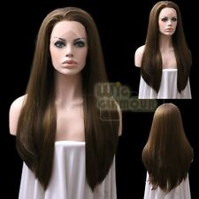 "Long Straight 24"" Dark Brown Mixed Golden Brown Lace Front Wig Heat Resistant"