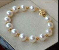 """NATURAL AAA 10-11MM SOUTH SEA WHITE  PEARL BRACELET 7.5-8"""" 14K GOLD CLASP"""