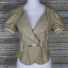 Hanii Y Cropped Tan Leather Jacket Short Sleeves Military Size 42 Medium