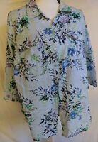 Croft & Barrow Sz 1X Button Down Vintage-Style Floral Print 3/4 Sleeve Shirt Top