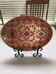 222 FIFTH Fine China Ornamental Scroll Oval Serving Dish Platter Red Gold