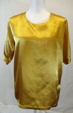 Unbranded Women's Large Satin Gold Pull-Over Top Short Sleeves