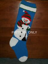 Pattern Only Hand Knitted Snowman With Scarf Christmas Stocking