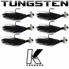 (6 pack) Tungsten Feather Panfish Jig - BLACK - 1/16 oz - #2 Hook