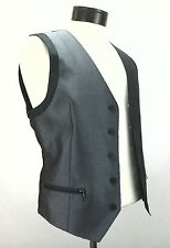 BAR III Vest Gray Metallic Club Party Fashion 5 button ZIP POCKETS Men's S $125