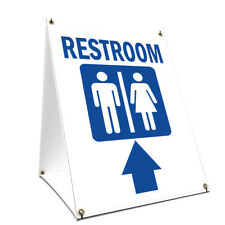 A-frame Sidewalk Sign Restroom With Up Arrow Double Sided Graphics