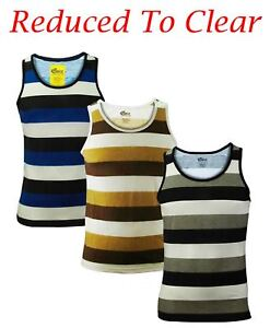 Mens Vests Stripe Print Sport Gym Sleeveless Summer Vest T-Shirt Tank Top S, M