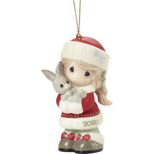 PRECIOUS MOMENTS Dated 2020 Girl Ornament Every Bunny Loves A Christmas Hug NEW