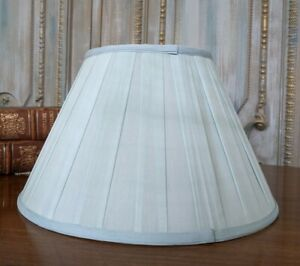 New SILK Pleated Pale BLUE Lined Lamp  Shade Round 40cm