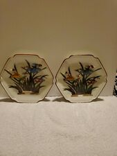 Vintage Two (2) Andrea By Sadek Japan Hexagon Plates with Birds and Flowers.