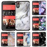 For HTC Desire 626 626S 530 555 650 Marble Design Slim Hybrid Armor Case Cover