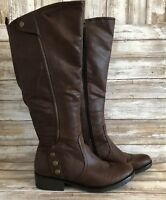 Bare Traps Knee High Boots 10M Oria Brown Synthetic Zip Block Heel Casual Womens
