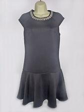 PRIMARK BLACK STRAIGHT DRESS TIER BOTTOM JEWEL NECK SIZE 6 XMAS PARTY