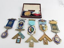Vintage MASONIC & R.A.O.B. Hallmarked SILVER Ring With 6 x Medals / Jewels