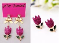 E448 BETSEY JOHNSON Crystal  ~PINK~ Garden Collection Flower Floral Earrings UK