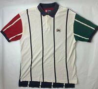 VTG Chaps Ralph Lauren Color Block Polo Shirt Short Sleeve Striped XL 90s N