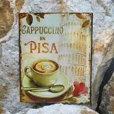 Targa di latta parete CAPPUCCINO PISA kaffeestube CUCINA murale ardesia TORRE