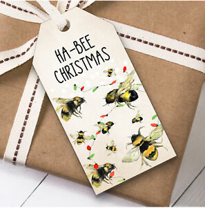 Funny Bee Christmas Gift Tags (Present Favor Labels)