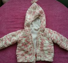 girl 0-3 months knitted  hoodie jumper jacket with fleece mothercare