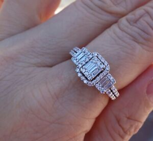 1ct Beautiful baguette diamond engagement promise ring 14k WG