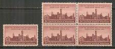 US # 943, 1946 3c Smithsonian Institution - 100th Anniversary, S/B4 Unused NH