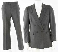 80s Vintage Fioravanti Wool Microplaid Double Breasted Suit Mens 38 Pants 30S