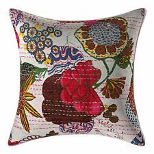 2 Pc Cotton Floral Kantha Cushion Covers Throw Decor Home Handmade Ethnic Home
