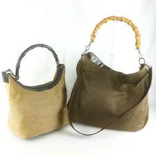 Auth GUCCI Bamboo Nylon Canvas Shoulder Hand 2way Bag Khaki Beige 2 Pieces Set
