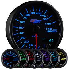"GlowShift 3 3/4"" Black 7 Color Speedometer Gauge 0-140 MPH w Digital Readout"